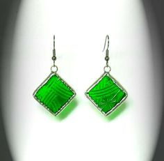 Green Textured  Stained Glass Earrings by AfricanSand on Etsy, $17.00