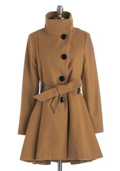 Winterberry Tart Coat in Crust. Walking up the path to your familys country home, you catch the rich aroma of treats as warm as your tan Steve Madden coat. #tan #modcloth