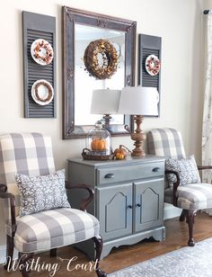 Fall dining room cabinet vignette    Worthing Court
