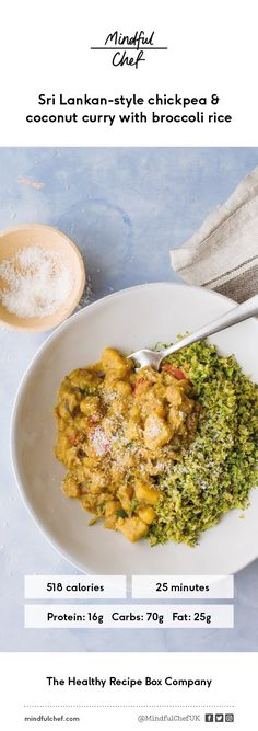 Healthy Sri-Lankan chickpea and coconut curry with broccoli rice | Vegan Recipe | gluten-free, dairy free, no refined carbs | Easy prep | We deliver all the pre-portioned ingredients needed to make our dinners in under 30 minutes