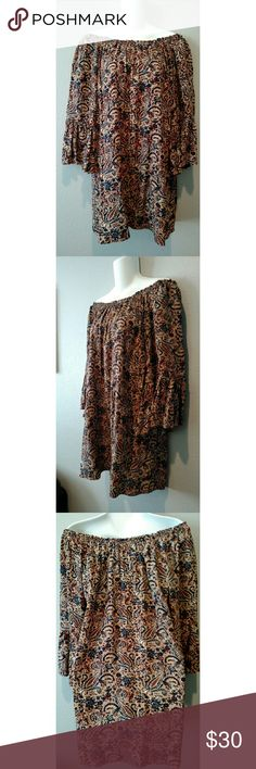 NWT Size M ANGL Paisley Print Tunic Dress Very cute paisley printed off the shoulder tunic dress new with tag. Could also fit a size large. Bell sleeves.  100% Rayon ANGL Dresses Midi