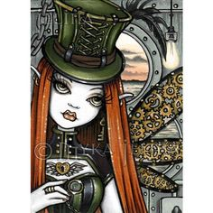 Steampunk Dolls, Steampunk Fairy, Gothic Fairy, Steampunk Artwork, Dark Fantasy, Fantasy Art, Fairy Pictures, Pretty Pictures, Art Trading Cards