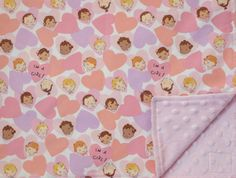 Bubble Girls Heart Pink Baby Blanket with ultra soft minki dot fabric on one side and this cool midcentury modern fabric on the other.
