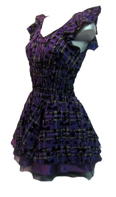 Soo Cute~! H & R London Tartan Dress Purple | Gothic Clothing | Emo clothing | Alternative clothing | Punk clothing - Chaotic Clothing