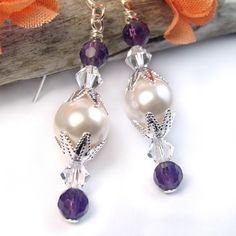 White #Pearl, #Amethyst and #Swarovski Crystal #Earrings #Handmade by @PrettyGonzo #Jewelry on #ArtFire