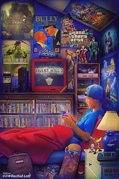 Nostalgia Meets Artistry in This Incredible Video Game Artwork – Game Room İdeas 2020 Retro Kunst, Retro Art, Retro Video Games, Video Game Art, Classic Video Games, Game Wallpaper Iphone, Flipper, Game Themes, Gamer Room