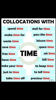 Collocations with TIME. Teaching English Grammar, English Writing Skills, English Vocabulary Words, Learn English Words, English Phrases, Grammar And Vocabulary, English Idioms, English Language Learning, English Study