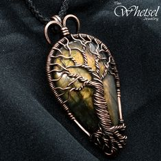 Copper Tree of Life Pendant - Pear Shaped Labradorite Necklace - Wire Wrapped Jewelry by Tim Whetsel - Gold Labradorite from Wire Wrapped Jewelry by TDW Tree Of Life Necklace, Tree Of Life Pendant, Jewelry Box Hardware, Silver Jewelry Cleaner, Wiccan Jewelry, Best Friend Jewelry, Sterling Silver Cross Pendant, Body Jewellery, Jewellery Diy