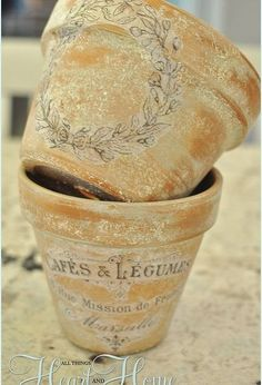 french inspired terra cotta flower pots, crafts, decoupage, flowers, gardening, Then you can spray them with a matte top coat to seal or use them just like they are They wouldn t be good for out doors but for inside they re perfect xo