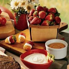 Cheesecake Dip. When you're in the mood for something sweet, but you want to keep it light, this simple dip really hits the spot. Dipping fresh plump strawberries in the cool and creamy concoction is a fun and delicious way to eat dessert.