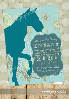 Equestrian Turquoise Horse Old West invitation Card Printable Digital - Customizable