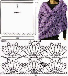 Pashmina shawl crochet fans with point patterns and molds Bonnet Crochet, Crochet Cape, Crochet Jacket, Crochet Scarves, Crochet Clothes, Knit Crochet, Crocheted Scarf, Crochet Diagram, Crochet Motif