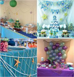 filet de pêche perles étoiles de mer et ballons en tant que décoration