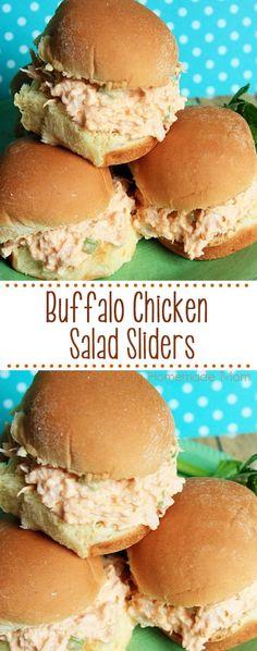 Buffalo Chicken Salad - cooked chicken, hot sauce, diced celery, and seasonings. Served over Hawaiian dinner rolls! #buffalochicken #chickensalad #sliders #lunch #gameday #recipe via @mrskamiller
