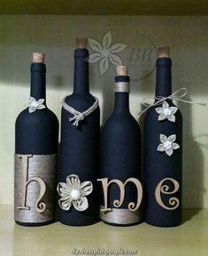 Wine bottle decor (set of four) bottle crafts painted Glass Bottle Crafts, Wine Bottle Art, Painted Wine Bottles, Diy Bottle, Glass Bottles, Decorative Wine Bottles, Crafts With Bottles, Beer Bottle, Bottle Painting