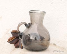 Hand Blown Glass Pitcher Vase by OldSecrets on Etsy, €32.00