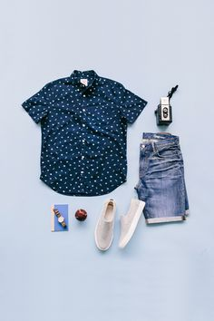 Outfit Grid - Polka dots & denim