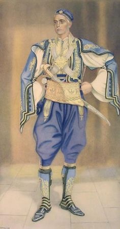 Greek man's dress from northern Epirus. Greek Traditional Dress, Traditional Outfits, Ancient Greek Costumes, Greek Men, Armor Clothing, Greek Independence, Greek History, Costume Collection, Folk Costume