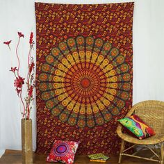 Mandala Home Wall Decor Tapestry Cotton Table Runner Bedsheet Tapestries-Tp428N