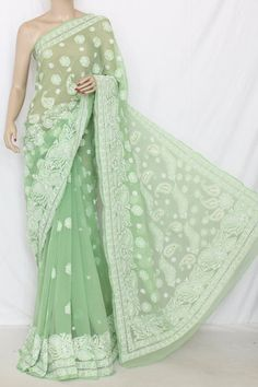 Pista Green Designer Hand Embroidered Lucknowi Chikankari Saree with Mukaish Work (With Blouse - Georgette) 14345 Lehriya Saree, Saree Dress, Anarkali, Indian Attire, Indian Ethnic Wear, Indian Dresses, Indian Outfits, Ethenic Wear, Trendy Sarees