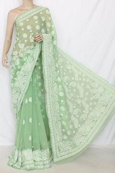 Pista Green Designer Hand Embroidered Lucknowi Chikankari Saree with Mukaish Work (With Blouse - Georgette) 14345