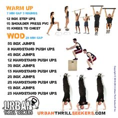 Workout of the day 12 box step-ups, 10 shoulder press pvc, 10 knees to chest, 50 box jumps, 8 handstand push-ups, 40 box jumps, 12 handstand push-ups, 30 box jumps, 15 handstand push-ups, 20 box jumps, 20 handstand push-ups, 10 box jumps, 25 handstand push-ups #boxstepups #shoulderpress #kneestochest #boxjumps #handstandpushups