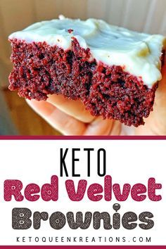 Keto Red Velvet Brownies Recipe - by Keto Queen Kreations. Topped with a keto cream cheese frosting, this delicious red velvet dessert is the perfect low carb, gluten free, sugar free recipe to cure your sweet tooth without the guilt. The Keto Quee Keto Desserts, Keto Dessert Easy, Sugar Free Desserts, Sugar Free Recipes, Keto Snacks, Easy Desserts, Diabetic Dessert Recipes, Desserts For Diabetics, Health Desserts