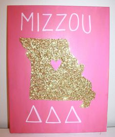 Sorority Canvas Glitter State Canvas - Missouri Tri Delta Sorority (Made to Order)