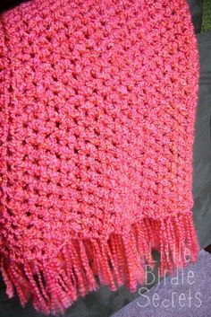 This quick and easy crochet afghan can be done in about 6 hours by someone who knows the basics of crochet.