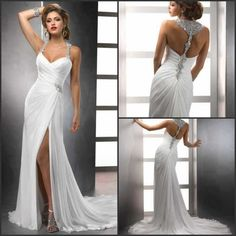 Mermaid Halter Chiffon And Satin Sleeveless Backless Off The Shoulder Wedding Dresses Beads Crystal Pleat Elegant