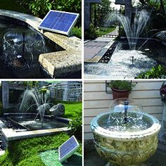 Lewisia Solar Water Pump Kit with Mushroom and Blossom Spray Heads for DIY Pond Water Feature Pool Garden Patio Hydroponics Aquaculture Bird Bath Solar Power Fountain Pump Uses Of Solar Energy, Renewable Sources Of Energy, Solar Energy Panels, Best Solar Panels, Solar Powered Fountain Pump, Solar Water Pump, Pool Garden, Diy Pond, Pond Water Features