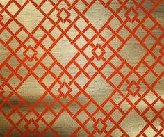 1970's Vintage Wallpaper burnt orange flocked lattice on metallic gold background on Etsy, $19.14 CAD