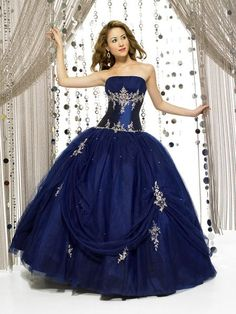 Discount Bewitch Flat Neckline Embroider Beads Working Ball Gown Tulle Satin Prom Dress (PD-160) Online