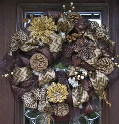 Deco Mesh Wreath SHADES of Brown with ANIMAL PRINTS by decoglitz