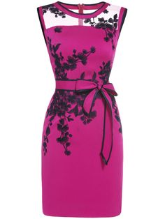 To find out about the Hot Pink Sheer Embroidered Tie-Waist Sheath Dress at SHEIN, part of our latest Work Dresses ready to shop online today! Sheer Embroidered Dress, Sheer Dress, Pink Work Dresses, Casual Dresses, Formal Cocktail Dress, Classy Dress, Women's Fashion Dresses, Dress Patterns, Beautiful Dresses