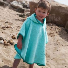 Cuddledry Poncho Towel for Babys and Toddlers - Aqua Blue Dolphin (SPF50+)