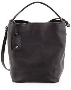 bb5e7891985d Burberry Brit Pebbled Check-Top Bucket Bag