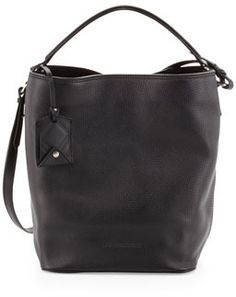 Burberry Brit Pebbled Check-Top Bucket Bag, Black on shopstyle.com