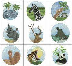 """Wildlife 2"" comes with 10 VERY realistic wild animal designs, such as an elephant, zebra, wolf, panda, camel, giraffe, hippopotamus, rhinoceros, wild buck & tiger too! 4x4 hoops!"