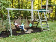 Swing Set for Grown Ups Are your kids still using that old swing set in your backyard or have they long outgrown it? It's time to make this a Swing Set for Grown Ups! Sets for grown ups Swing Set for Grown Ups