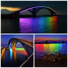 Every bridge should have this! Fancy - Spectacular Light Installation: Rainbow Bridge Glowing in the Night in Taiwan