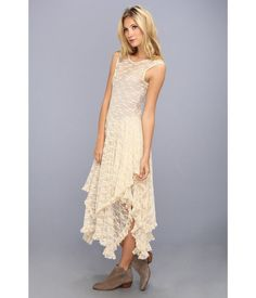 FREE PEOPLE sz XS SLIP DRESS LACE ANKLE LENGTH IVORY HANDKERCHIEF HEM BRAND NEW