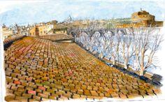 Roma mai vista: i tetti della capitale nei disegni di Franco Bevilacqua