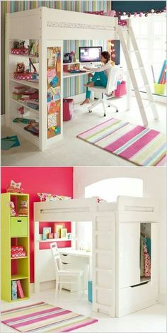 5 Space Saving Ideas to Add a Study Space to Your Kids Room 27 Fabulous Girls Bedroom Ideas to Realize Their Dreamy Space Cute Bedroom Ideas, Girl Bedroom Designs, Awesome Bedrooms, Cool Rooms, Bedroom Styles, Luxury Bedroom Design, Bedroom Ideas For Small Rooms For Girls, Dream Rooms, Dream Bedroom