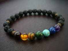 "men's seven chakra mala bracelet, made from high quality garnet, amber, tiger's eye, jade, turquoise, lapis, and amethyst gemstones. Sizing Info: small - fits a 6"" - 6.5"" wrist medium - fits a 7"" - 7."