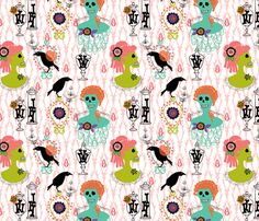 victorian skulls 2 fabric by skellychic on Spoonflower - custom fabric