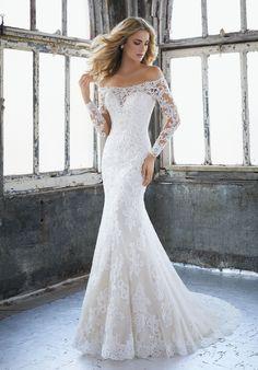 Mori Lee 8207 Karlee Off The Shoulder Long Sleeve Bridal Dress