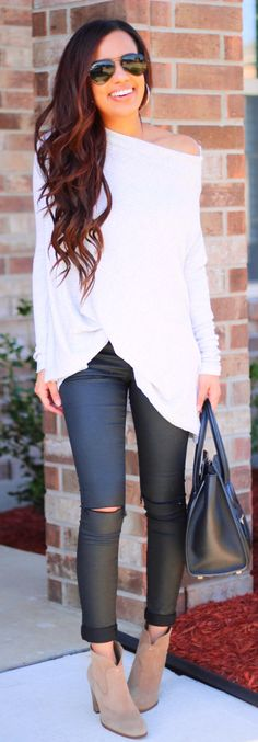 spring fashion White Off The Shoulder Knit & Black Ripped Skinny Leggings & Black Leather Tote Bag