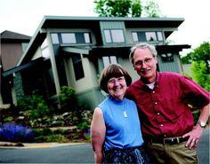 Emily and Doug Boleyn outside their net zero energy house in Happy Valley. Happy Valley, Solar House, Southern Prep, Oregon, House Design, Homes, Cellar, Zero, Sun