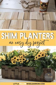 Build a simple window box with these easy plans. Simple wood shims are used to decorate and add texture. A perfect window box for indoors or out. #woodprojects #planters #garden #patioideas #containergardening